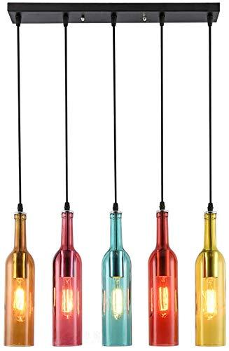 Kaxich Altmodische Kronleuchter, Beleuchtung Jahrgang Bierflasche Kronleuchter Lampe Kronleuchter Industrieloft Café-Restaurant Glasschirm Kronleuchter,Multi Colored