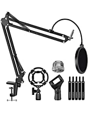 """InnoGear Microphone Stand for Blue Yeti Adjustable Suspension Boom Scissor Arm Stand with 3/8""""to 5/8"""" Screw Adapter Shock Mount Windscreen Pop Filter Mic Clip Holder Cable Ties"""