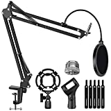 InnoGear Microphone Stand for Blue Yeti Adjustable Suspension Boom Scissor Arm Stand with 3/8'to 5/8' Screw Adapter Shock Mount Windscreen Pop Filter Mic Clip Holder Cable Ties