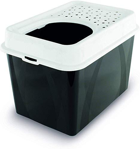 Rotho Berty hohes Katzenklo mit Top-Eingang, Kunststoff (PP) BPA-frei, schwarz/weiss, 57.2 x 39.2 x 40 cm
