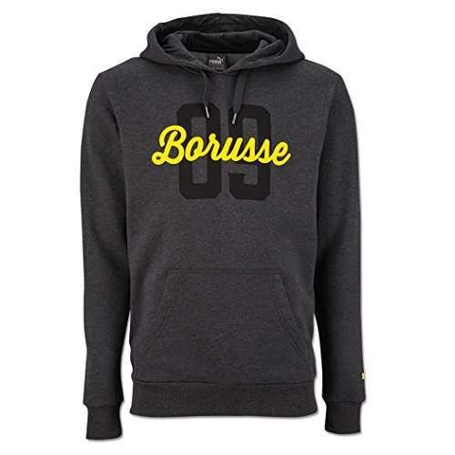 PUMA Herren BVB Borusse Hoody Fleece Pullover, Dark Gray Heather, 3XL