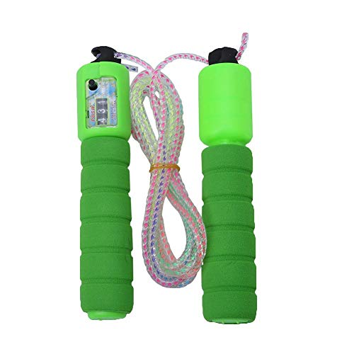 Naroote 【 】 Jump Rope, Length Adjustable Accurately countable PVC Wire Rope with Comfortable Anti-Slip Handles for Men Women Child Fitness Exercise(Green)