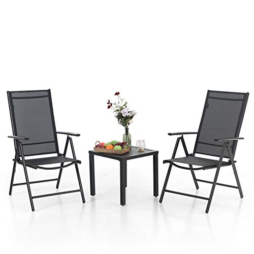 MFSTUDIO 3 Piece Metal Patio Dining Set,Outdoor Bistro Furniture with1 x Square Wrought Iron Table and 2 x Folding Sling Chairs with 7 Levels Adjustable for Garden, Pool, Backyard (Black)