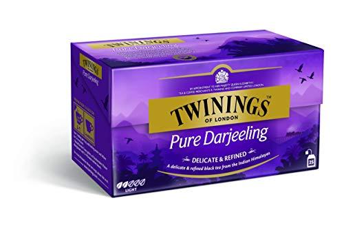 Twinings Pure Darjeeling - Schwarzer Tee im Teebeutel - zarter, erstklassiger Schwarztee mit einem Hauch von Muskat, gepflückt in den Anbaugebieten der Himalaja-Region