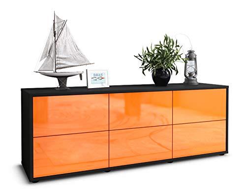 Stil.Zeit TV Schrank Lowboard Remus, Korpus in anthrazit matt/Front im Hochglanz Design Mandarine (135x49x35cm), mit Push to Open Technik und hochwertigen Leichtlaufschienen, Made in Germany