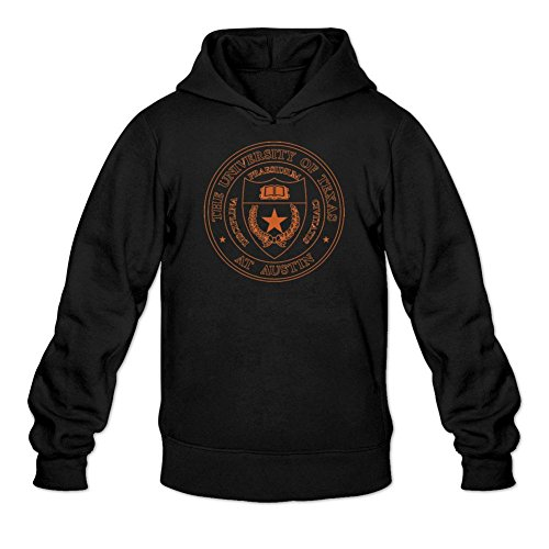 TMILLER Men's University of Texas at Austin Logo Hoodied Sweatshirt Size L Black