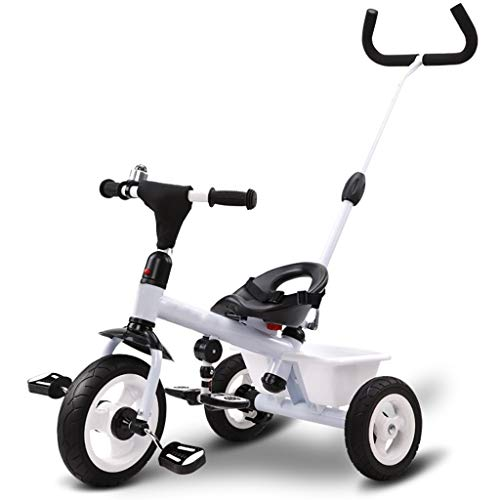 Triciclo Multifunción Portátil De Triciclo Infantil 3 En 1 Triciclo 2-6 Años Saldo Al Aire Libre Antiguo Bici del Bebé De 3 Colores, 64x74x47cm (Color : White)