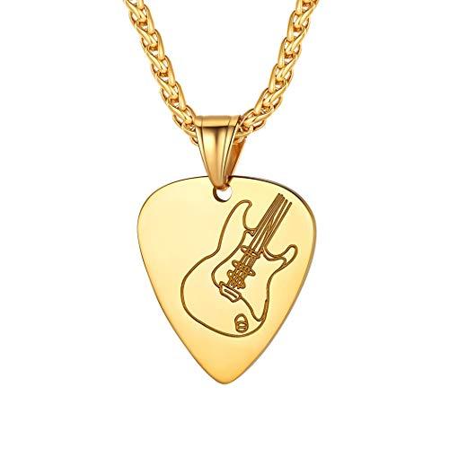 Suplight Gitarre Plektrum Kette 18k vergoldet Plektron Anhänger Halskette Gitarre Muster Hip Hop Musiker Rocker Modeschmuck Accessoire tolles Geschenk für Weihnachten Geburtstag