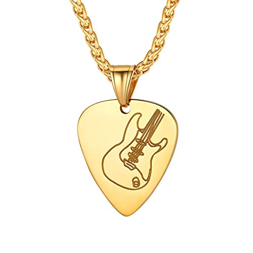 18k Gold Guitar Pick Charm for Men Women Personalized Music Lover Jewelry Stainless Steel Rock Electric Guitar Bass Pendant Necklace