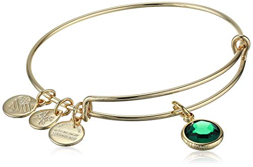 Alex and Ani Women's Swarovski Color Code Bangle May Emerald Bracelet, Shiny Gold, Expandable