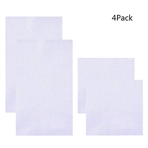 Pllieay 2 Pieces 18 Count White Classic Reserve Aida Cloth Cross Stitch Cloth 12 by 18 Inch