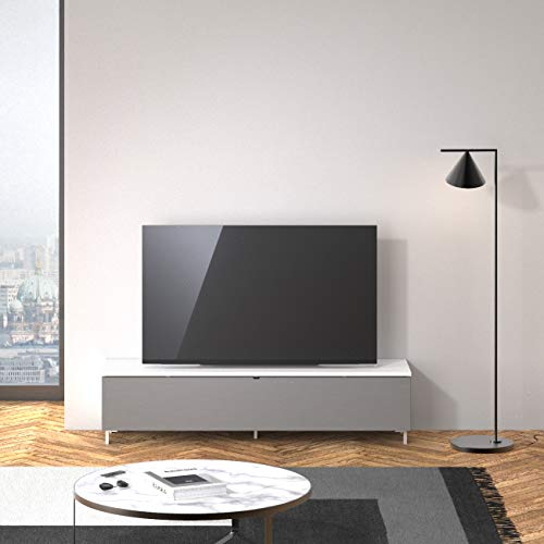 SPECTRAL® Just-Racks Lowboard mit Soundsystem JRB1601 (B/H/T) 160x38×40cm, Snow, Stofffront Grey