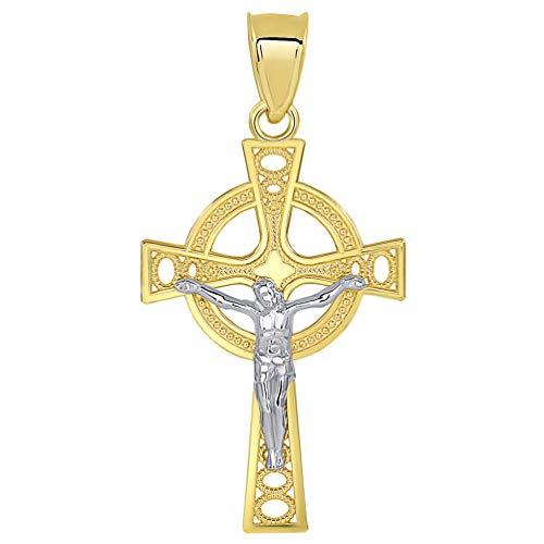 Solid 14k Two Tone Gold Celtic Cross Jesus Crucifix Pendant