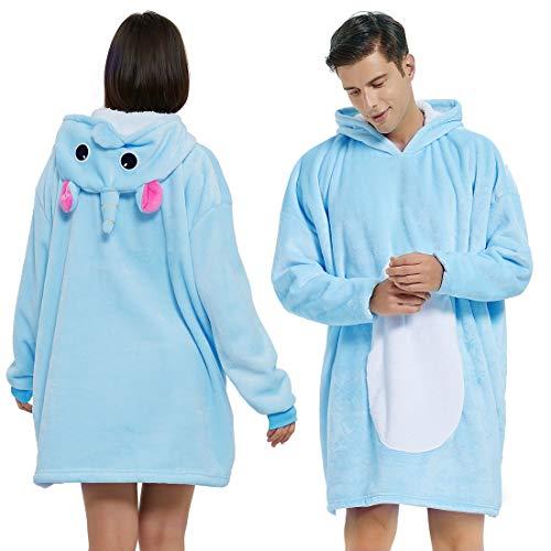 BALCONY & FALCON Manta de felpa con capucha Oversize Sherpa manta de punto de peluche manta con mangas pijama Cosplay para mujer y hombre Unicornio Large