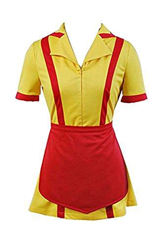Manfis 2 Broke Girls Kostüm Kellnerin Kleid Mini und Midi (XXL, Mini)
