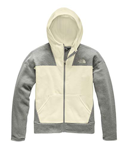 The North Face Girls' Glacier Full Zip Hoodie, Vintage White, XXS