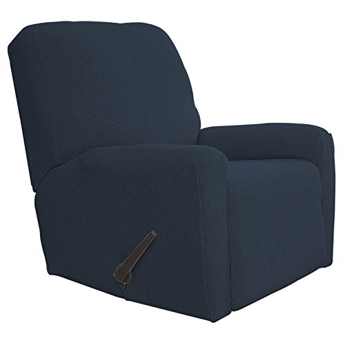 Easy-Going Recliner Stretch Sofa Slipcover Sofa Cover 4-Pieces Furniture Protector Couch Soft with Elastic Bottom Kids, Spandex Jacquard Fabric Small Checks(Recliner,Dark Blue)
