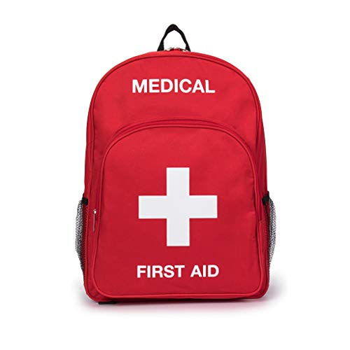 Jipemtra First Aid Backpack Empty Medical First Aid Bag Red Emergency Treatment First Responder Trauma Bag for Preschool Child Care Center Field Trips Camping Daycare (Red Backpack#2)