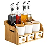 REWD Botes para Especias novedosos Porcelana Contenedor Condimentos Tarros vinagre Tarro Titular Conjunto de Madera, for el Almacenamiento de Aceite/vinagre/Pimienta/comino en Polvo/Sal/Azúcar