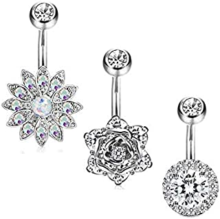 3Pcs Stainless Steel Belly Button Rings Barbell Navel Rings Bar for Women CZ Flower Body Piercing