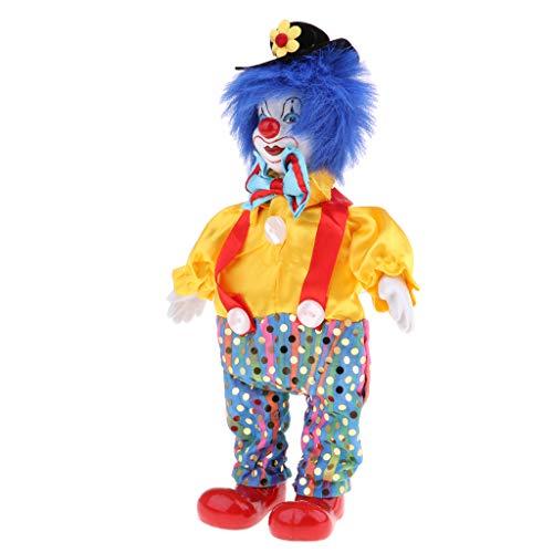 Fenteer Lustige Clown Mann Porzellan Puppe im Kleidung Spielzeug für Halloween Tisch Schreibtisch Dekoration - # 6, 23cm