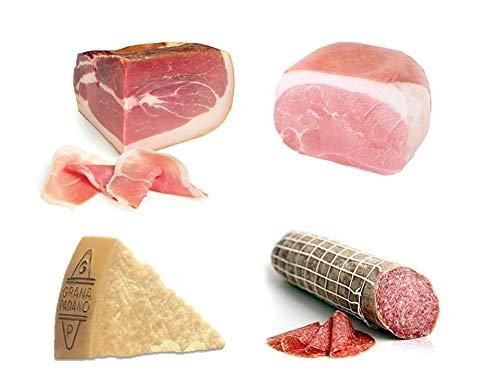 Box Degustazione: Prosciutto crudo di Parma DOP, Trancio 2,7 Kg + Trancio di prosciutto cotto spalla, c.a. 2 kg + Salame ungherese, c.a. 1 kg + Formaggio Grana Padano Dop 0,500Kg