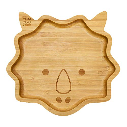 Baby Toddler Bamboo Dinosaur Plate with Silicone Suction - Stay Put Plate - Bamboo Plate - BambooZoo