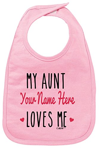 Personalized Baby Clothes Baby Shower Gifts Personalized Aunt Gift My Aunt Loves Me Baby Bib Pink