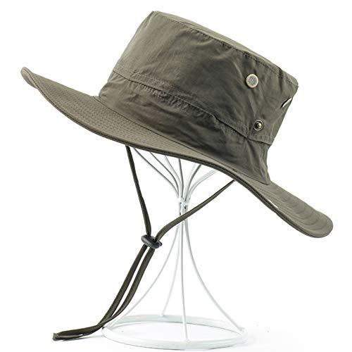 ZZDH Sombrero Pesca Impermeable para los Hombres Pesca al Aire Libre Sombreros Ancho Amplia Protección UV Playa Caps Mujeres Sol Transpirable Senderismo Sol Pescador Sombrero