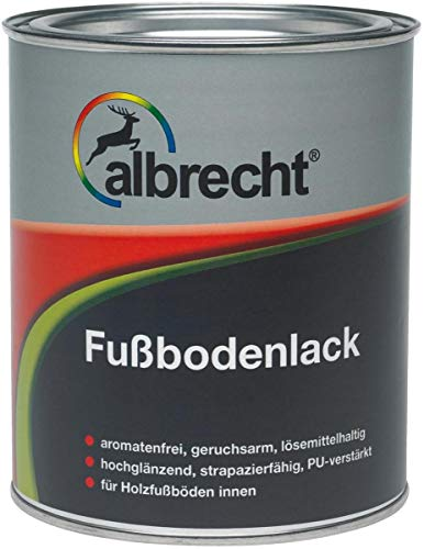 Albrecht Fußbodenlack Hochgläzend weiß 0,75 L Farbwahl, Farbe:weiß
