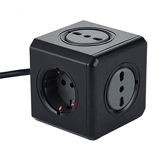 Electraline 62098 Multipresa Cubo Powercube, 3 prese da 10/16A, 2 prese Schuko + 10A, Spina 16 A, Colore Nero, Cavo 1.5 m