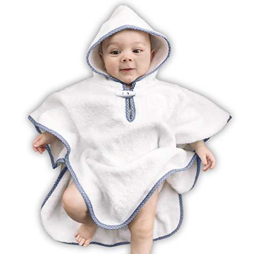 VABY – Babyponcho Blau mit Kapuze, OEKO-TEX®, Bade Poncho aus Baumwolle und Bambus, für Kinder und Babys, 0 bis 6 Jahre, extra weicher Frottee Poncho für Mädchen und Jungen