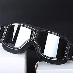 HONCENMAX Vintage Goggles Sports Sunglasses Helmet Steampunk Eyewear for Outdoor Motocross Racer Motorcycle Goggles Retro - Black Frame Sliver Lens #4
