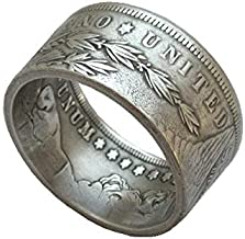 suiwoyoujooact Coin Ring Handcraft Rings Vintage Handmade from Morgan Dollar Random Date Eagle Silver Plated US Size 9-16#