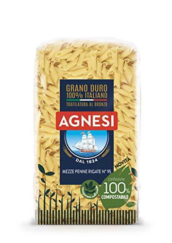 Agnesi Mezze penne rigate | Pasta di semola di grano duro 100% italiano | Trafilatura al bronzo | Confezione compostabile da 500 grammi