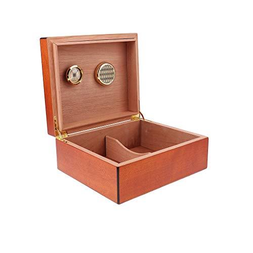 SMEJS Caja de la Caja de Cedro español humidor W/humidificador higrómetro Puro de Color marrón Caja de cigarros