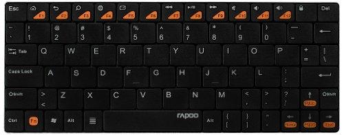 Rapoo E6500 Bluetooth Ultra-Slim Tastatur für Android™ (Multimedia-Schnelltasten, deutsches Layout) schwarz