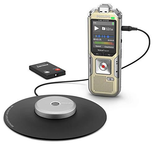 Philips DVT8010 Digitales Diktiergerät (360°-Aufnahme, Tellermikrofon, Fernbedienung, MP3, Micro-USB-Anschluss, 8 GB interner Speicher, Metallgehäuse, Li-Polymer-Akku) gold