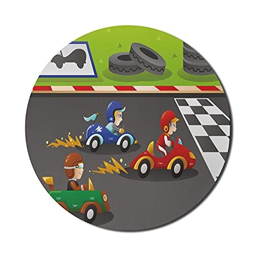 Alfombrilla para ratón de guardería para computadoras, Happy Kids Racing in Cars Diseño de dibujos animados para sala de juegos para bebés, redonda, antideslizante, de goma gruesa, moderna, para juego