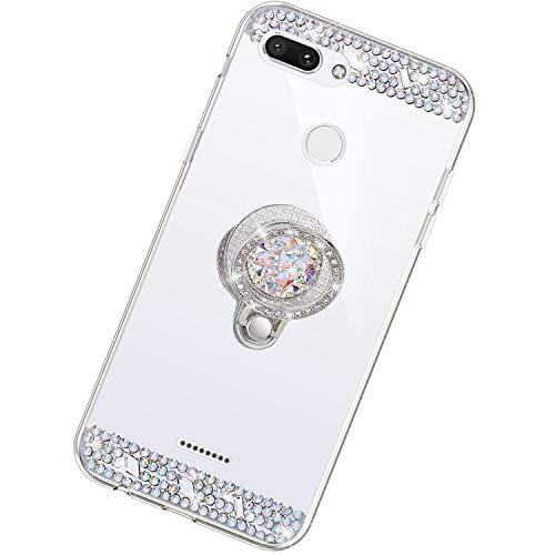 Funda Compatible con Xiaomi Redmi 6.Espejo Glitter Diamante Anillo Soporte Brillo TPU Transparente Silicona Suave Carcasa Cover Mirror Bling Moda Ultrafino Protective Bumper Case,Plata