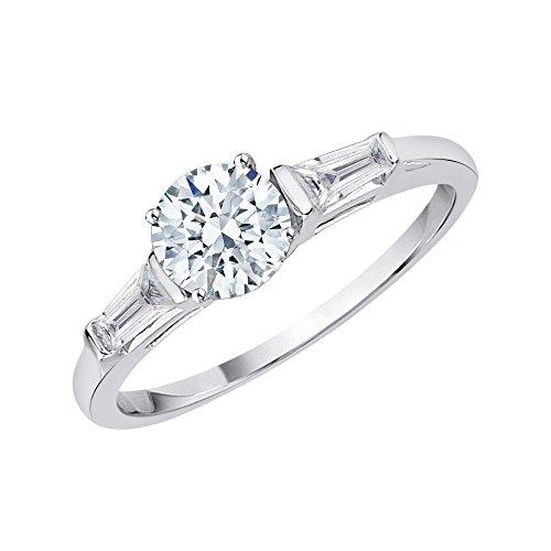 KATARINA Anillo de compromiso de diamantes de talla baguette y redonda en oro de 14 k (7/8 cttw, J-K, SI2-I1)
