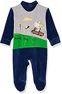 Papillon Stitched Detail Long Sleeves Snap Closure Bodysuit for Boys - Navy, 6-9 Months
