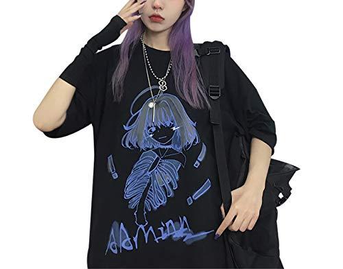 かわいい 韓国 Tシャツ 原宿系 ファッション レディース ゆったり カジュアル チュニック アニメ 図案 無地 3色 トップス 黒 七分袖 カットソー