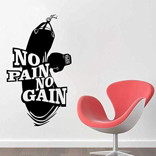 Keine Schmerzen Kein Gewinn Fitness Training Boxhandschuhe Boxsack Wandaufkleber Vinyl Aufkleber Wohnkultur Kunst Poster 57x97 cm