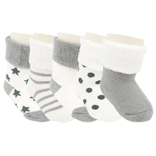 Ateid Bebés Niños Calcetines Grueso de Algodón Invierno 6-12 Meses Paquete de 5 Pares Gris M