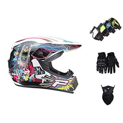 STZYY Casco De Motocross para NiñOs, Casco De Motocross con Gafas, Guantes, Protector Facial, Casco De ColisióN De Motocross para Adultos Y JóVenes, Casco Integral De MTB
