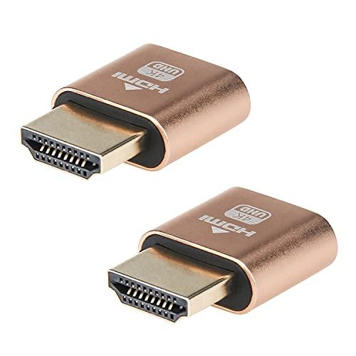HDMIダミープラグ 2個 HDMI仮想ディスプレイ DDC EDIDエミュレータコネクタ 4K @60Hz高解像度 バーチャルモニターディスプレイ wuernine 低消費電力 熱なしリモートワーク モニター プロジェクターなど対応