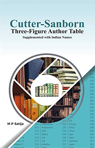 Cutter-sanborn Three Figure Author Table: Supplemented With Indian Names