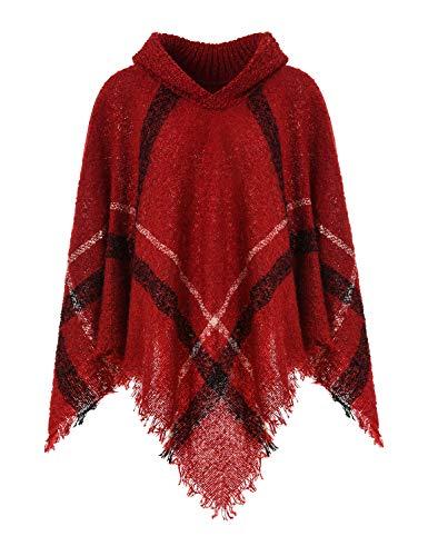 Ferand Warmer Weicher Karierter Damen Poncho-Pullover mit Kapuze oder Rollkragen, Kapuzenversion: Burgund, Einheitsgröße (Beste Passform S-L)