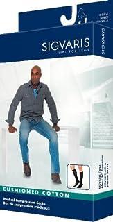 Sigvaris Men's Cushioned Cotton Knee High Sport Socks 20-30mmHg Long Length, Large Long, White